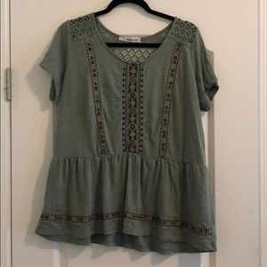 Cute Green Embroidered Blouse